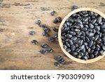 black beans in wooden bowl. top ... | Shutterstock . vector #790309090