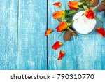 face cream and rose flowers on... | Shutterstock . vector #790310770
