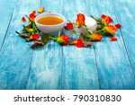 cosmetic creams and rose... | Shutterstock . vector #790310830