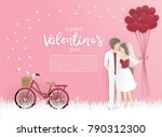valentine's card with bicycle... | Shutterstock .eps vector #790312300
