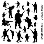 soldiers silhouettes collection | Shutterstock .eps vector #790315009