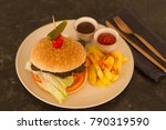 hamburger with french fries ...