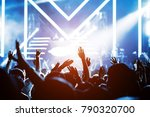 crowd of hands up concert stage ... | Shutterstock . vector #790320700