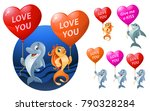 love you. set of funny sea...   Shutterstock .eps vector #790328284