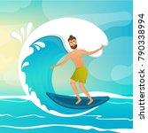 surfer on wave. cartoon... | Shutterstock . vector #790338994