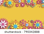 colorful floral card. paper cut ... | Shutterstock .eps vector #790342888