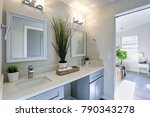 warm and clean bathroom with... | Shutterstock . vector #790343278