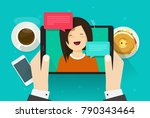 video chat or call vector... | Shutterstock .eps vector #790343464