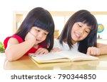 asian girls sharing a book | Shutterstock . vector #790344850