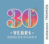 30 years anniversary... | Shutterstock .eps vector #790349356