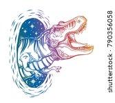 tyrannosaurus dinosaur head....   Shutterstock .eps vector #790356058