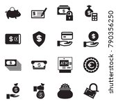 solid black vector icon set  ... | Shutterstock .eps vector #790356250