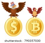 american bald eagle sits on the ...   Shutterstock .eps vector #790357030