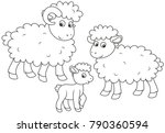 a small lamb  a sheep and a ram ... | Shutterstock .eps vector #790360594