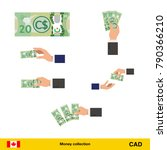 set of canadian dollar banknote.... | Shutterstock .eps vector #790366210