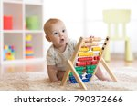 child boy playing with abacus... | Shutterstock . vector #790372666