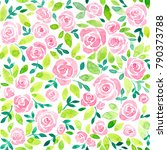 pink roses and leaves painted... | Shutterstock . vector #790373788