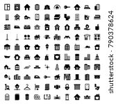 house icons. set of 100... | Shutterstock .eps vector #790378624