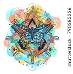 magic butterfly tattoo art... | Shutterstock .eps vector #790382236