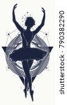 dancing woman tattoo and t... | Shutterstock .eps vector #790382290