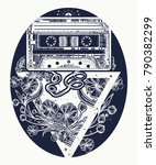 retro music tattoo and t shirt... | Shutterstock .eps vector #790382299
