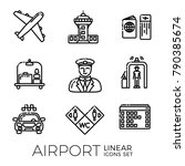 set of airport linear icons... | Shutterstock .eps vector #790385674