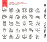 game elements   thin line and... | Shutterstock .eps vector #790386820