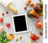 set of raw food with tablet on... | Shutterstock . vector #790389988