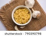garlic paste or lahsun puree... | Shutterstock . vector #790390798