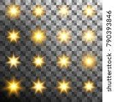 set of burst light flash glow... | Shutterstock .eps vector #790393846