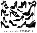 elegant women shoes | Shutterstock .eps vector #790394014
