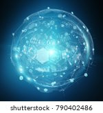 holograms datas digital sphere... | Shutterstock . vector #790402486
