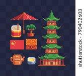 chinese culture. pixel art... | Shutterstock .eps vector #790402603