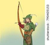 robin hood aiming on target.... | Shutterstock .eps vector #790405153