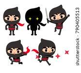 vector set of cute ninja... | Shutterstock .eps vector #790405513