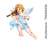 Angel With A Violin Isolated...