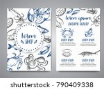 seafood banner vector template... | Shutterstock .eps vector #790409338
