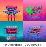 hotel and motel are collection... | Shutterstock .eps vector #790409359