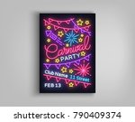 carnival party poster in neon... | Shutterstock .eps vector #790409374