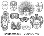 venetian mask illustration ... | Shutterstock .eps vector #790409749