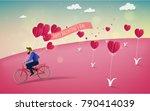 red heart flower on pink... | Shutterstock .eps vector #790414039