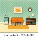 retro room interior. living... | Shutterstock .eps vector #790414288