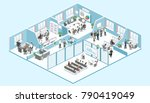 isometric flat 3d abstract... | Shutterstock . vector #790419049
