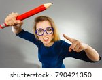 angry mad woman blonde student... | Shutterstock . vector #790421350