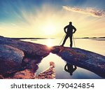traveler with  backpack stand... | Shutterstock . vector #790424854