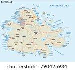 antigua road and beach vector... | Shutterstock .eps vector #790425934
