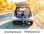 beautiful young couple sitting... | Shutterstock . vector #790426510