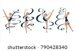 ballerina in a blue swimsuit....   Shutterstock .eps vector #790428340