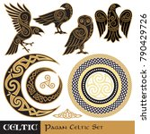 celtic magic set. celtic horned ... | Shutterstock .eps vector #790429726