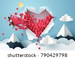 paper plane flying through a... | Shutterstock .eps vector #790429798